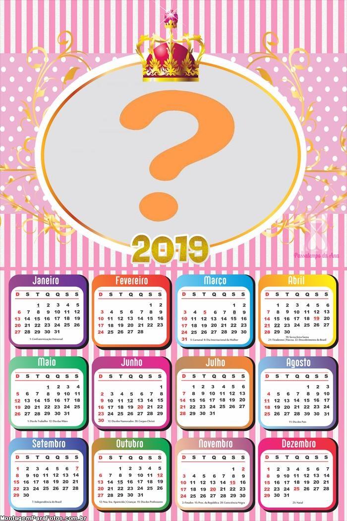 Calendário 2019 da Realeza