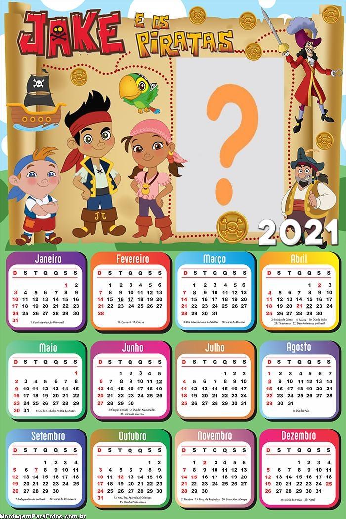 Calendário 2021 Jake e os Piratas para Emoldurar