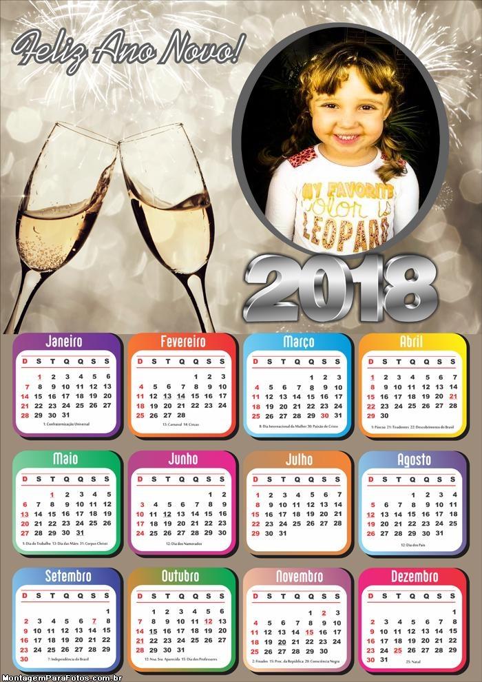Moldura Calendário 2018 Feliz Ano Novo Prata