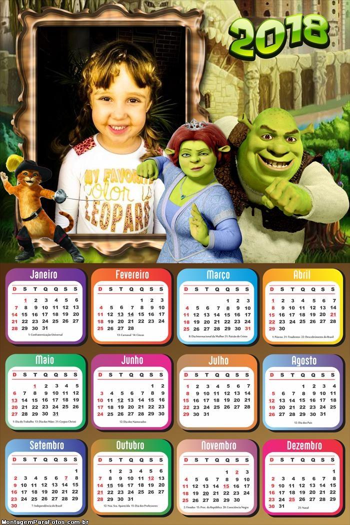 Calendário 2018 do Shrek e Fiona