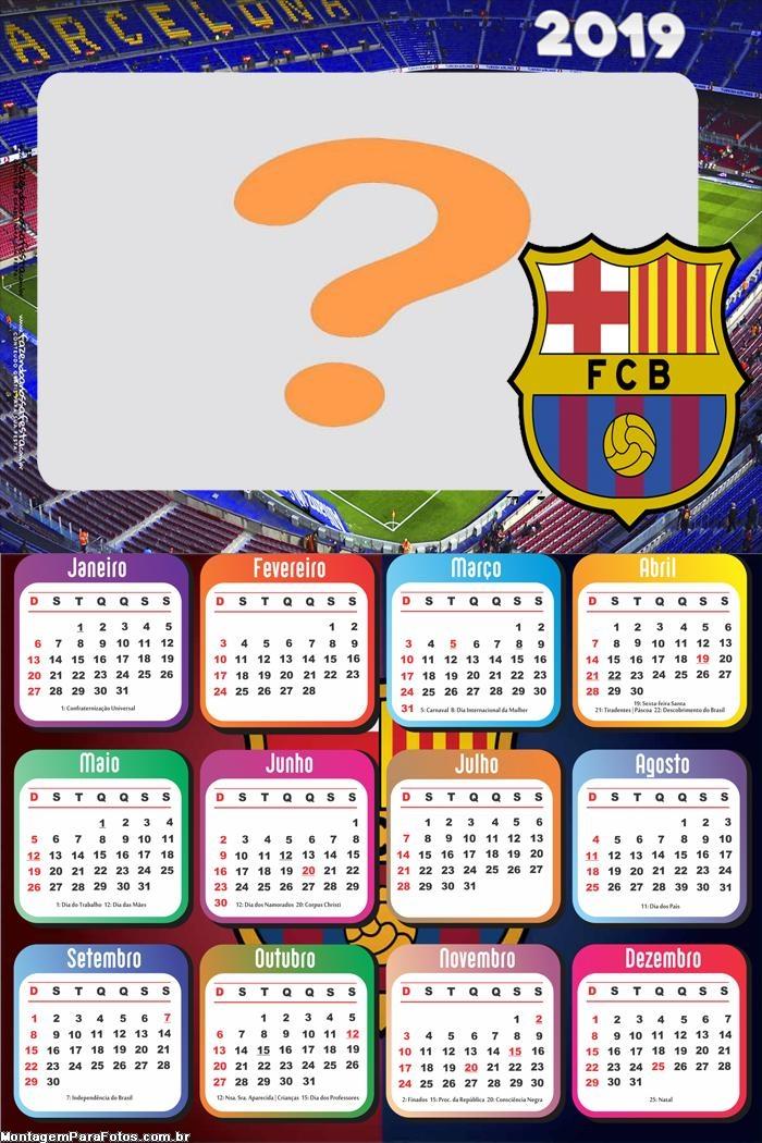 Calendário 2019 Barcelona Time Futebol