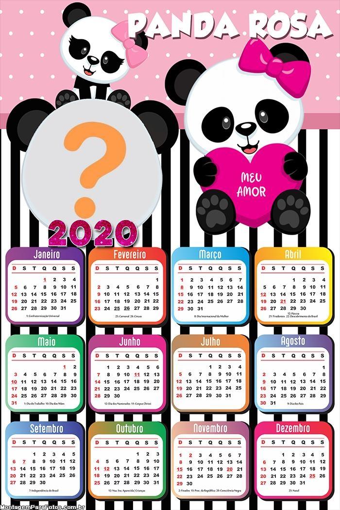 Calendário 2020 Panda Rosa