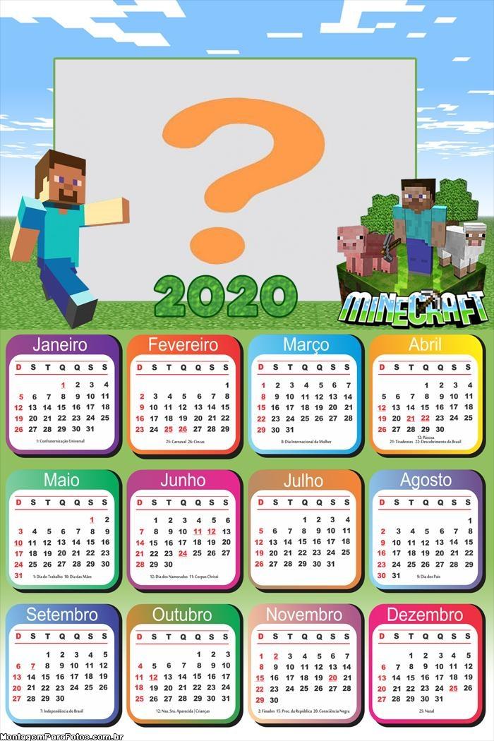 Emoldurar Calendário 2020 Minecraft