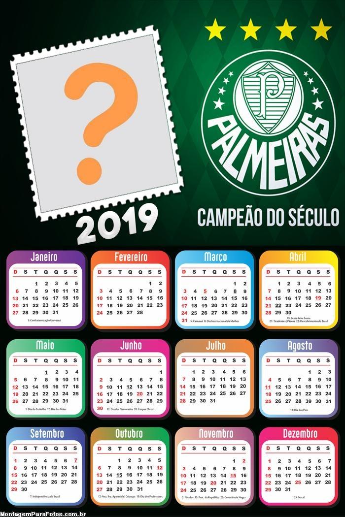 Calendário 2019 Palmeiras Campeão do Século