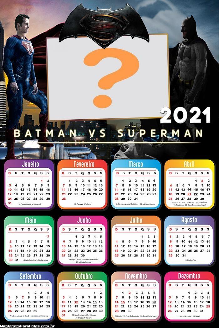 Calendário 2021 Batman vs Superman