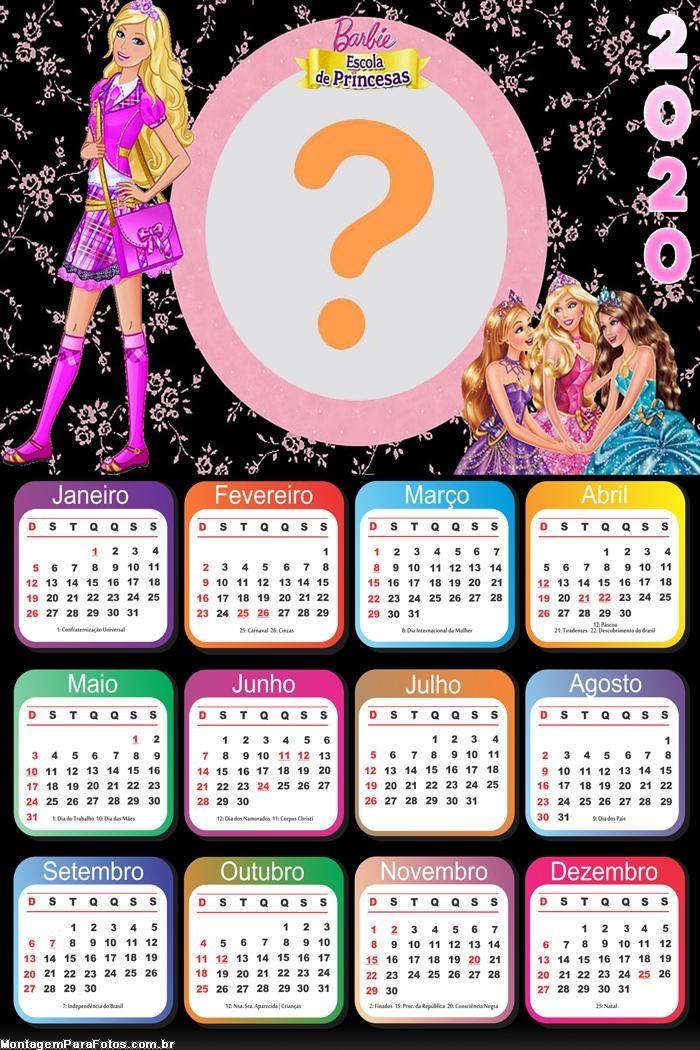 Calendário 2020 Escola de Princesas