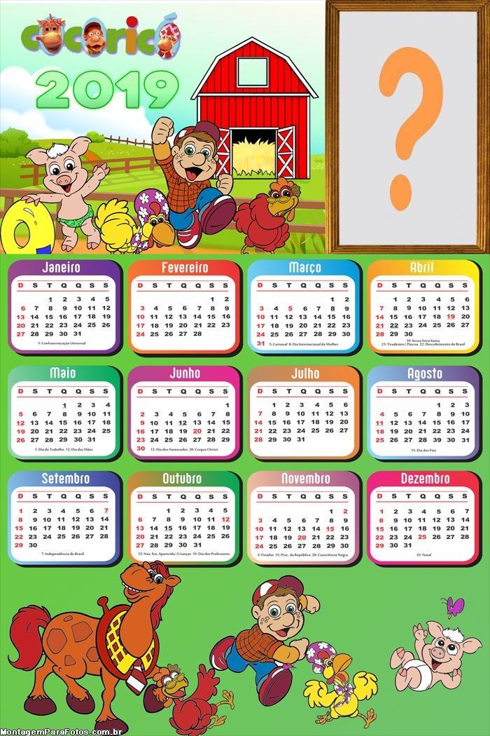 Calendário 2019 Fazendinha