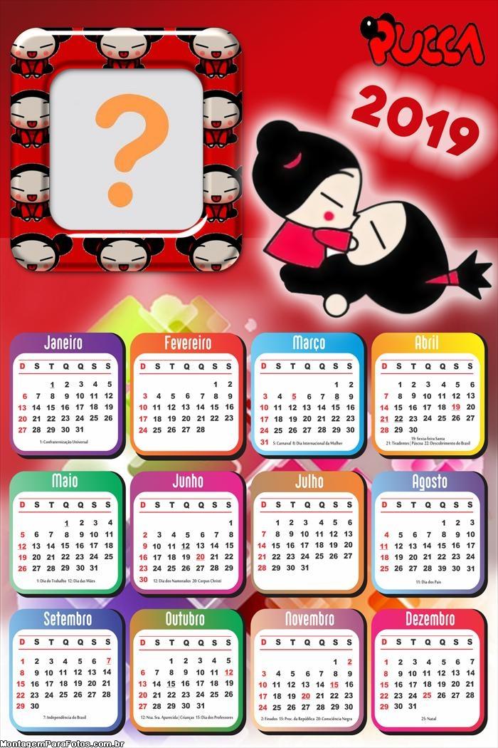 Calendário 2019 Pucca Anime Beijo