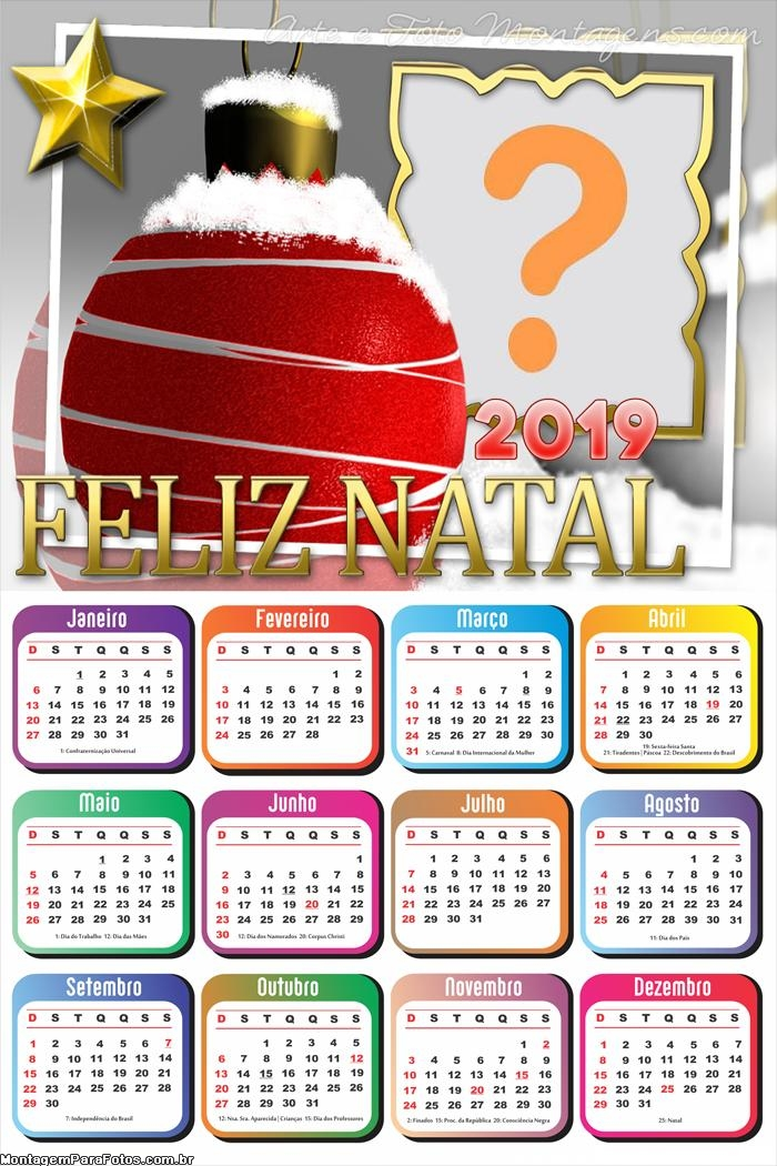 Calendário 2019 Neve na Bola de Natal