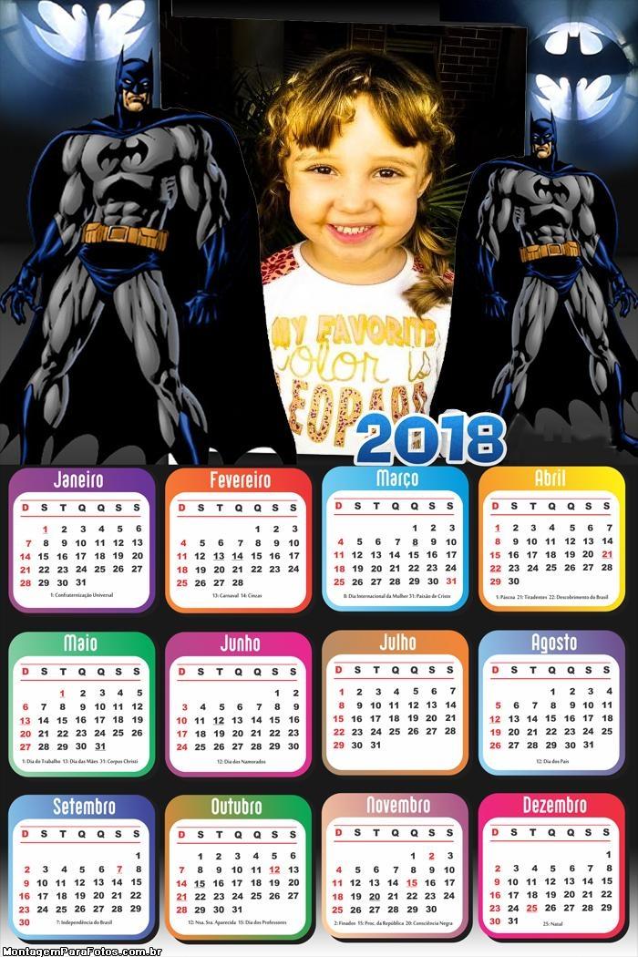Calendário 2018 Homem Morcego Batman
