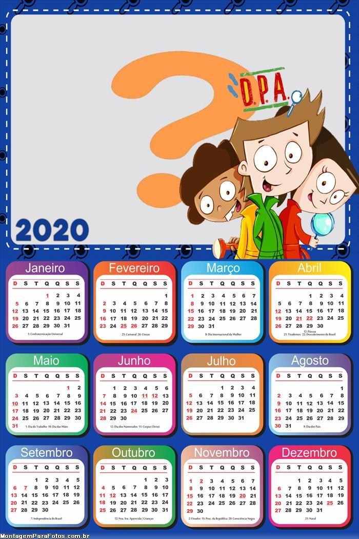 Calendário 2020 DPA Detetives do Prédio Azul