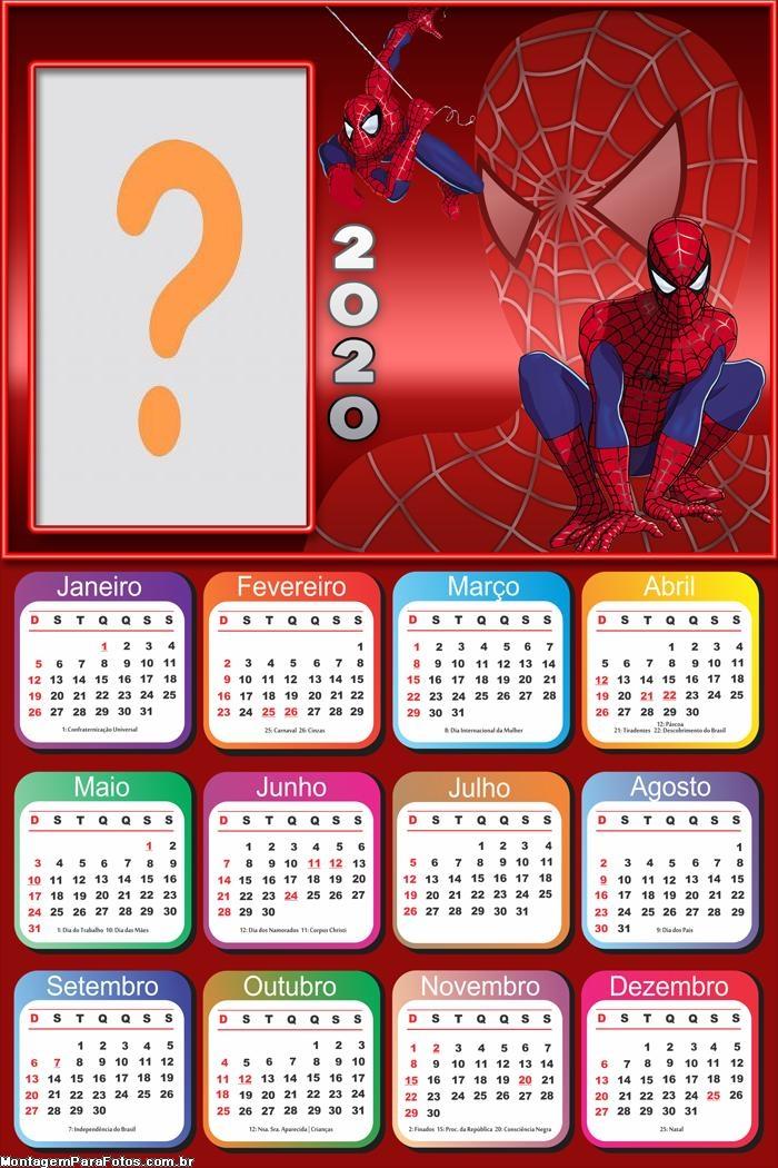 Emoldurar Calendário 2020 Homem Aranha