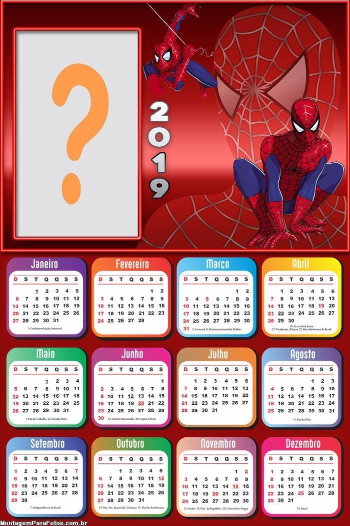 Calendário 2019 do Homem Aranha