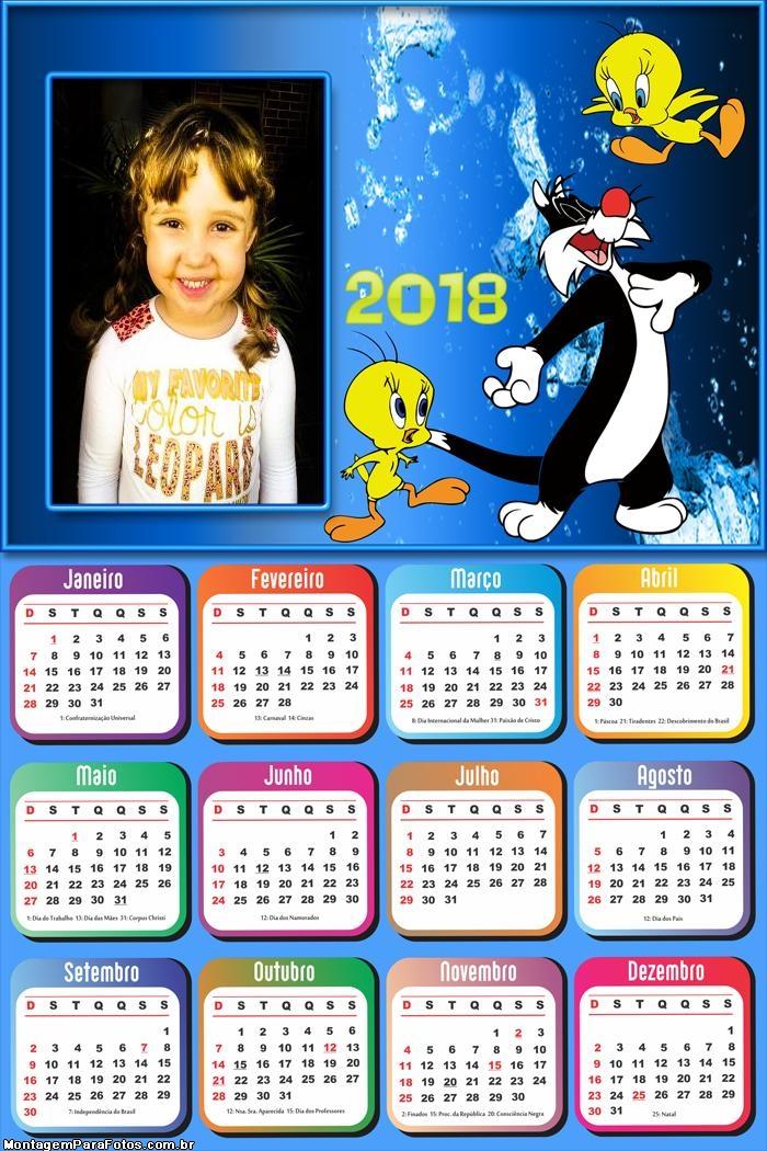 Calendário 2018 Frajola e Piu Piu