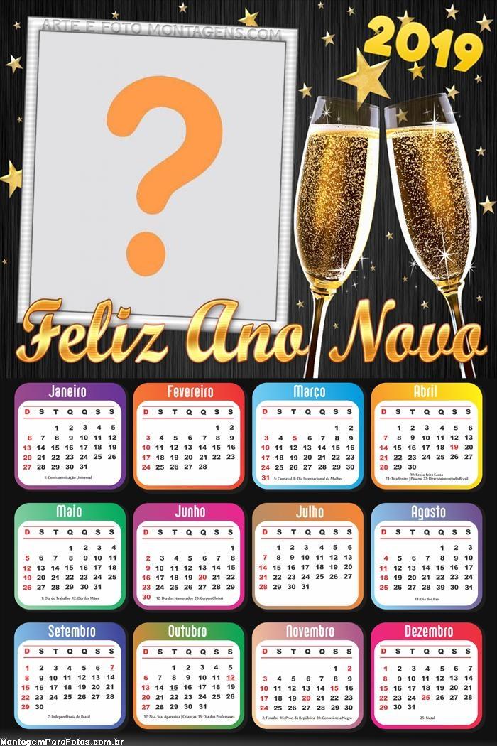 Calendário 2019 Feliz Ano Novo Taças