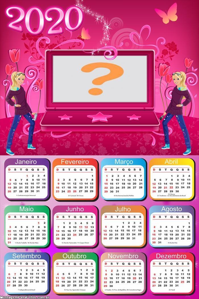 Emoldurar Calendário 2020 Barbie Notebook