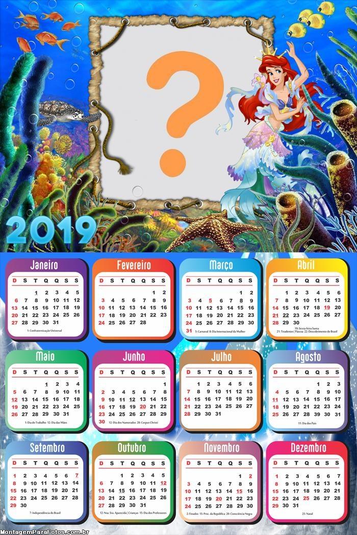 Calendário 2019 Ariel no Fundo do Mar