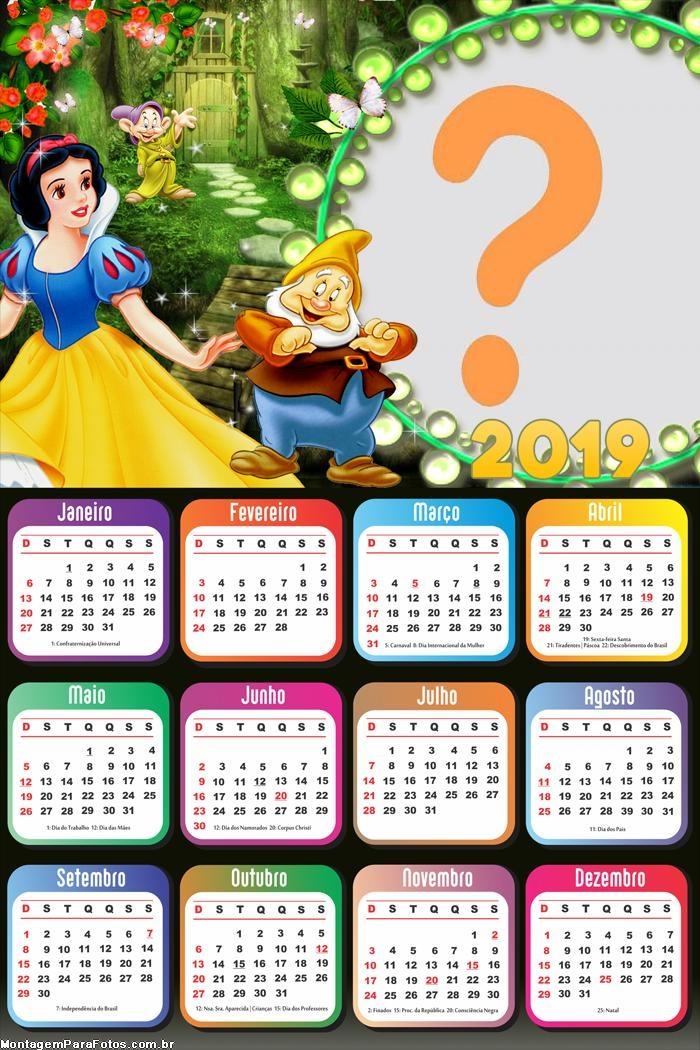 Calendário 2019 Branca de Neve Moldura