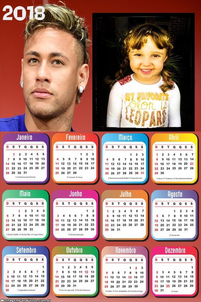 Calendário 2018 Neymar Jogador Futebol
