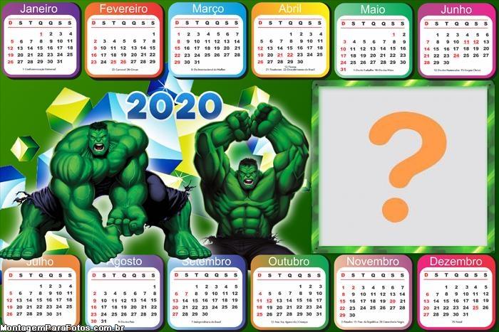 Calendário 2020 Horizontal do Hulk