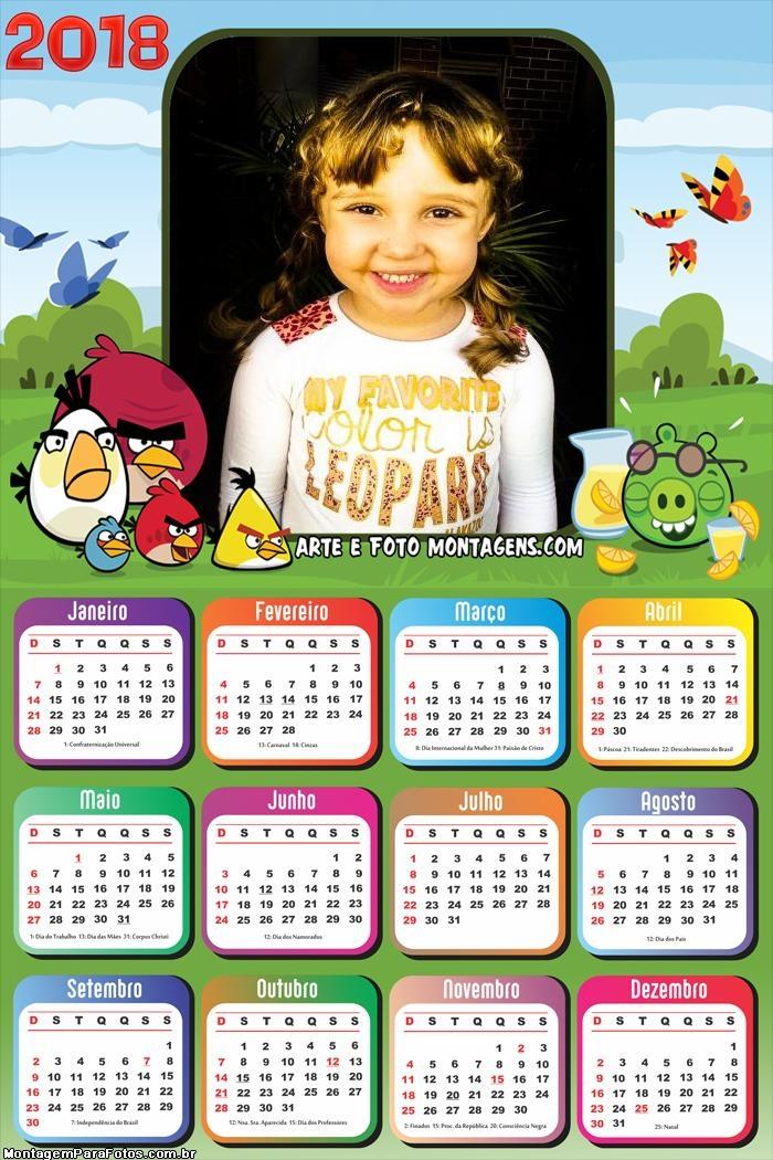Calendário 2018 Angry Birds