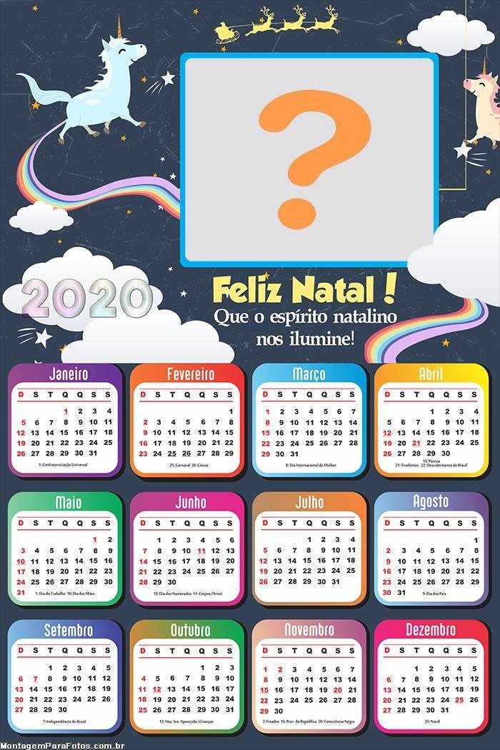 Calendário 2020 Unicórnio Feliz Natal