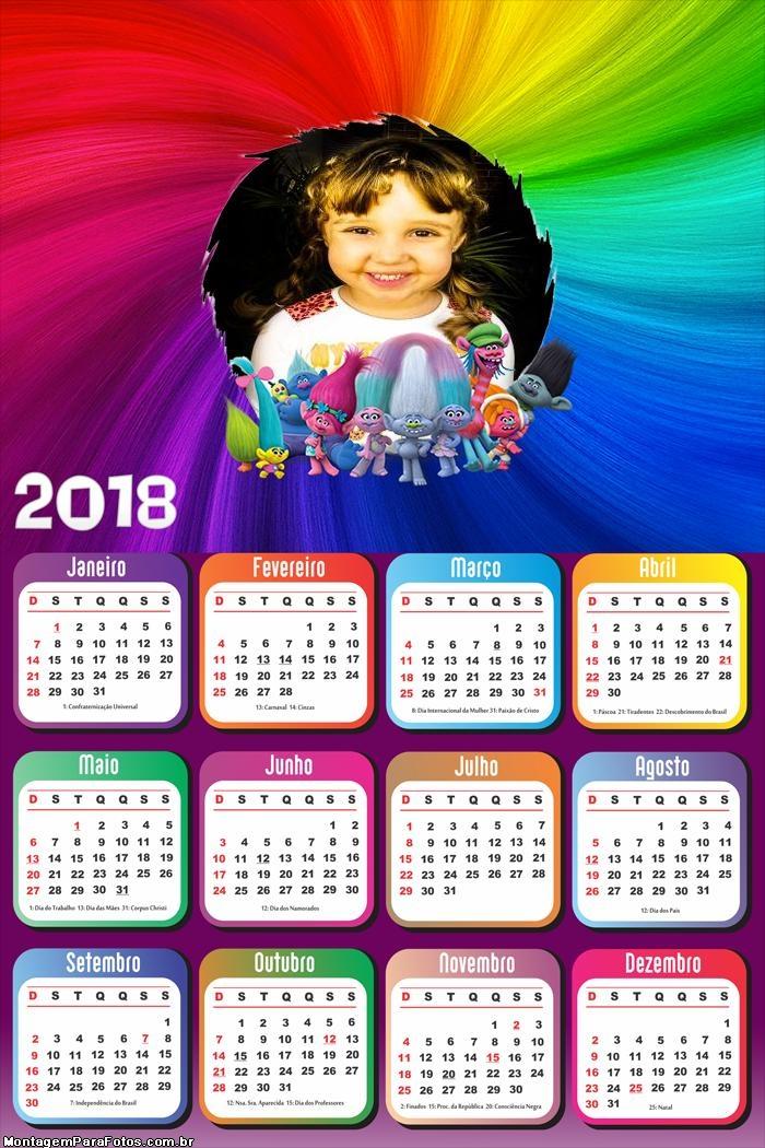 Calendário 2018 Trolls