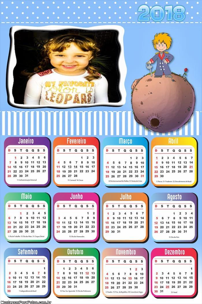 Calendário 2018 Desenho do Pequeno Príncipe