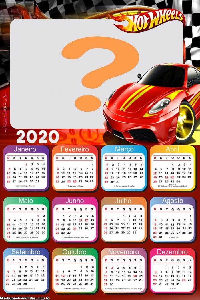 Calendário 2020 Hot Wheels Carro Vermelho