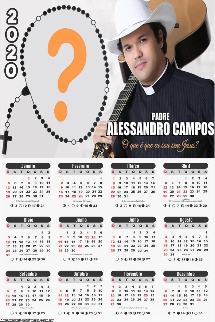 Calendário 2020 Padre Alessandro Campos