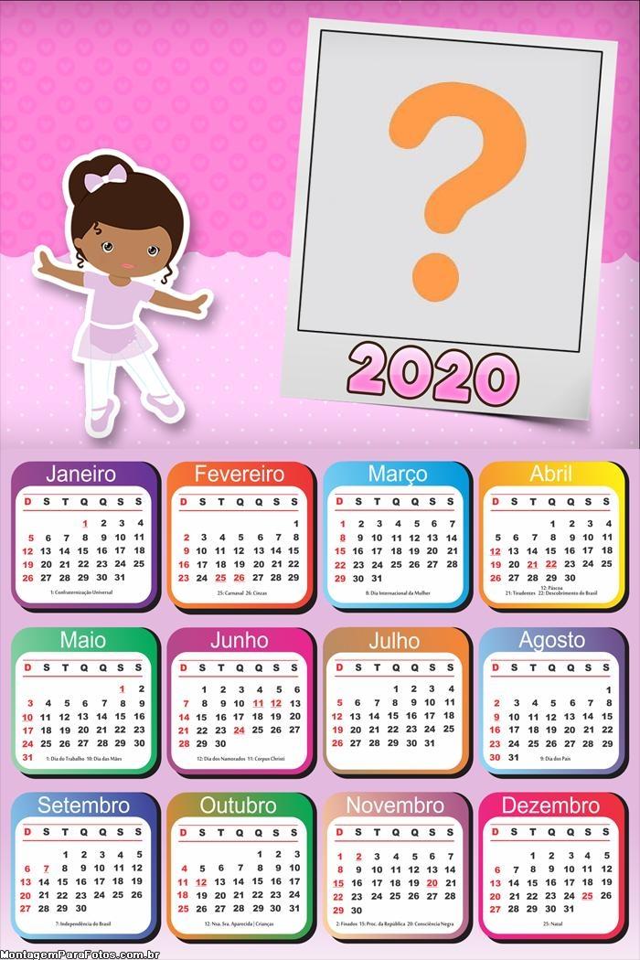 Calendário 2020 Bailarina Moldura Digital