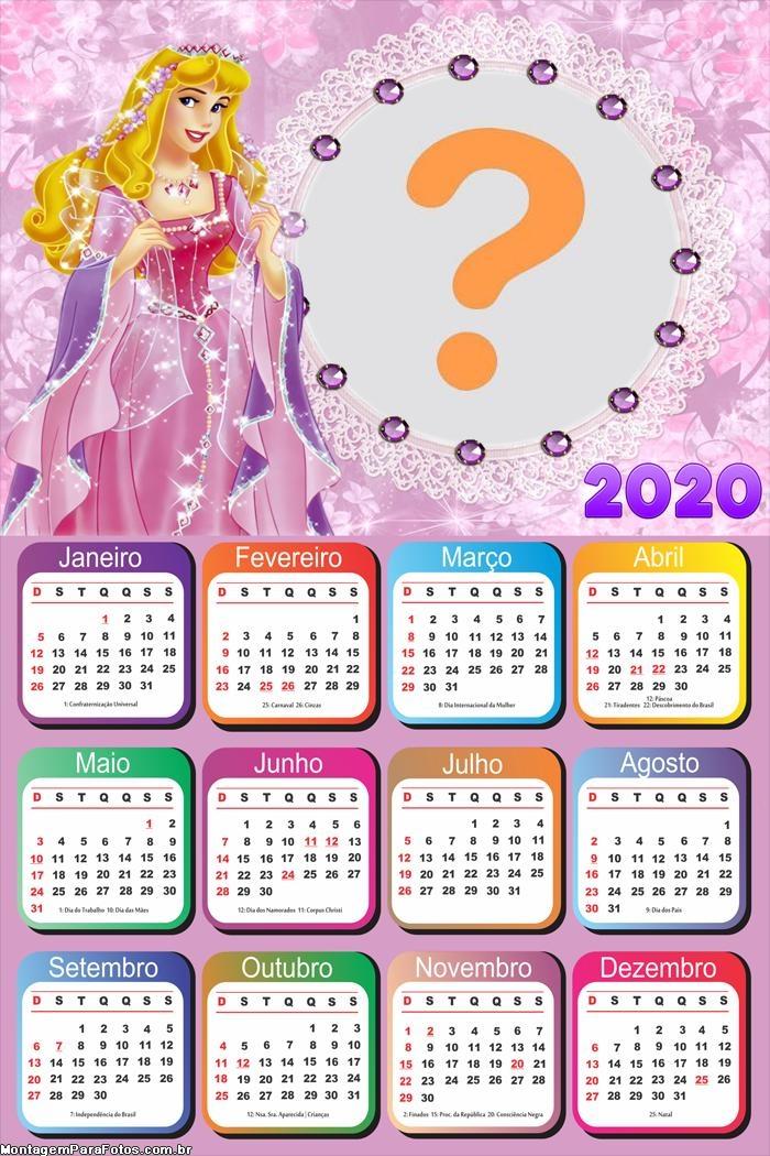 Calendário 2020 da Princesa Aurora Moldura