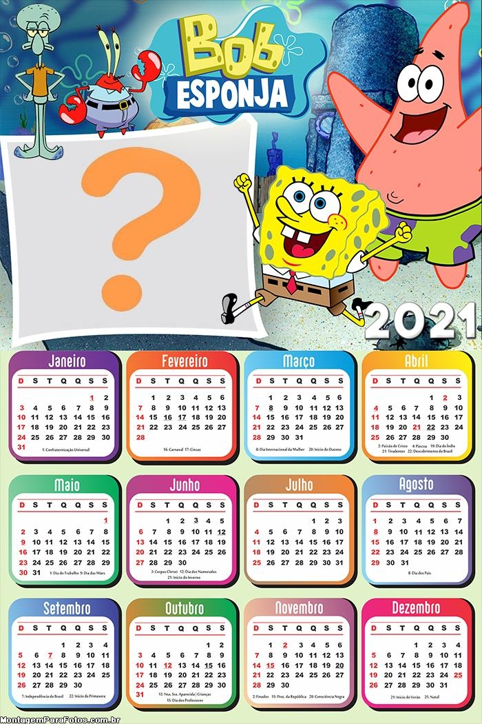 Calendário 2021 Bob Esponja e Patrick
