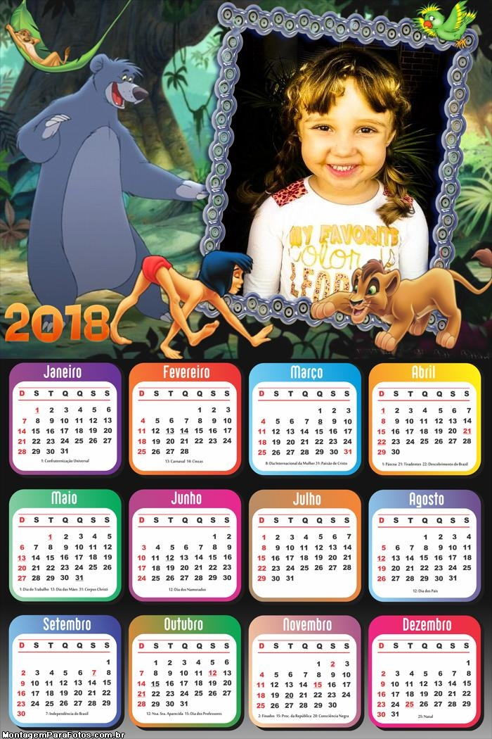 Calendário 2018 Tarzan Desenho