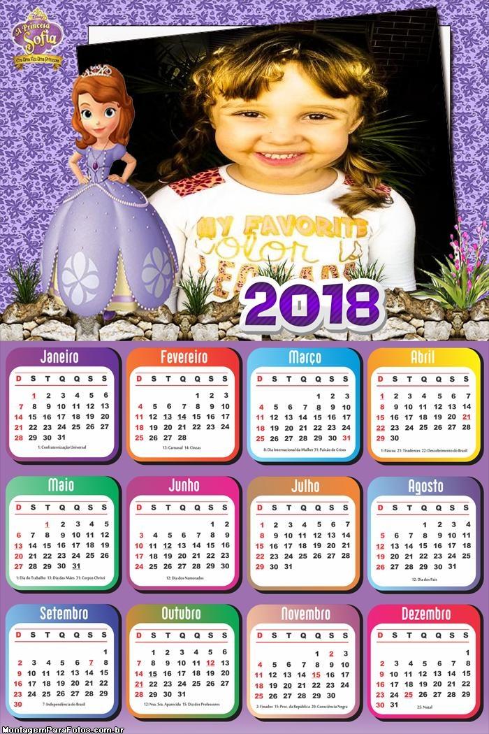 Calendário 2018 Encantia Sofia