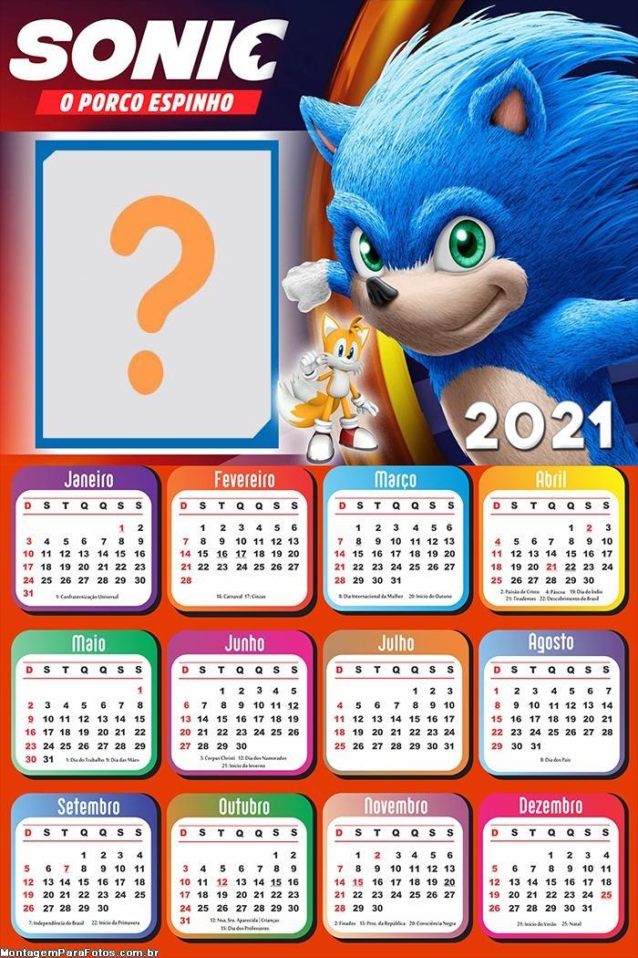 Montar Foto Online Calendário 2021 Sonic