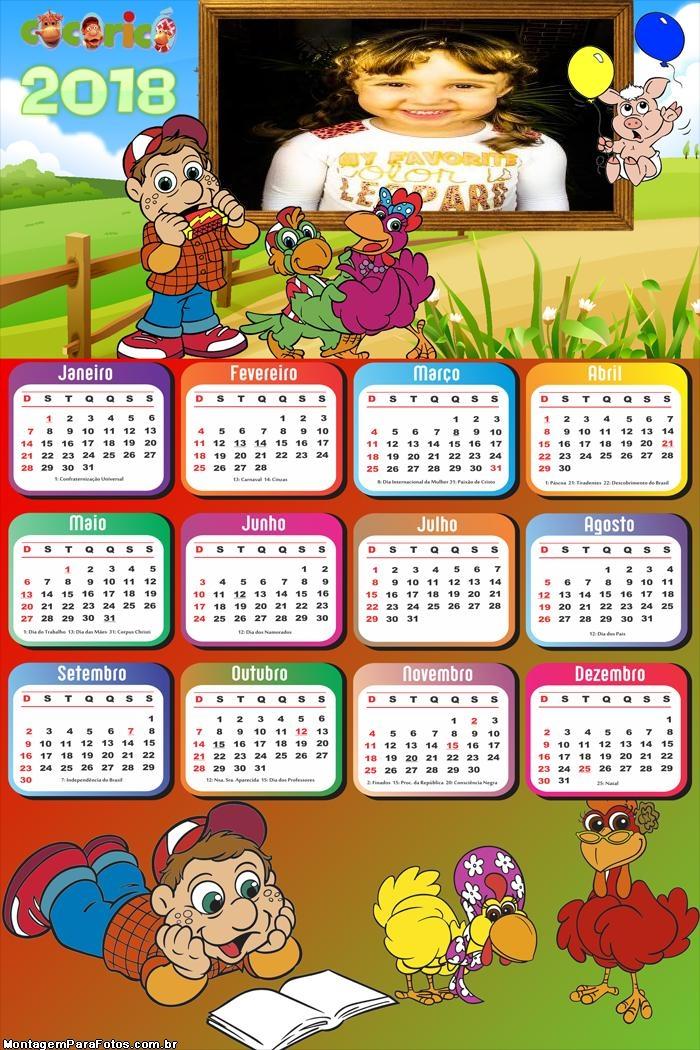 Calendário 2018 Desenho Cororicó Fazendinha