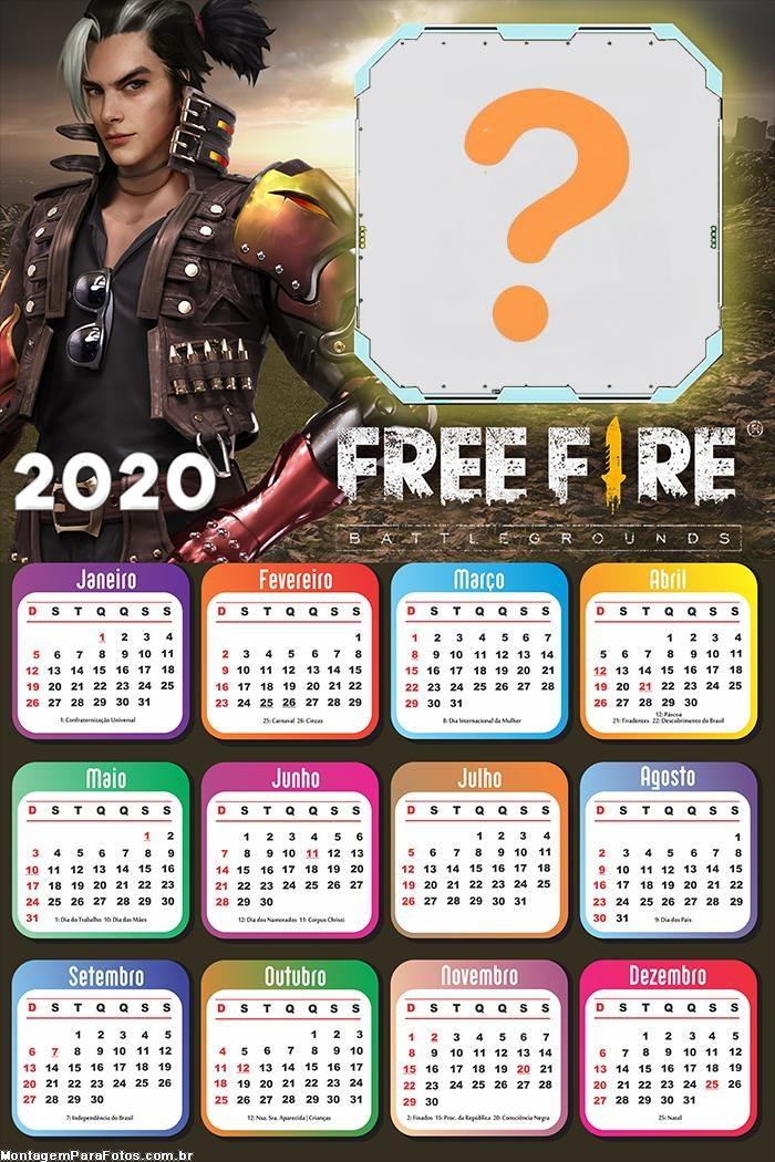 Calendário 2020 Free Fire