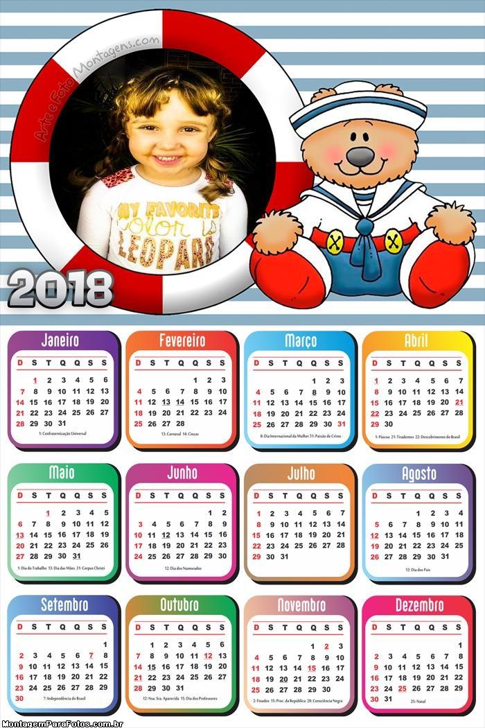 Calendário 2018 Urso Marinheiro