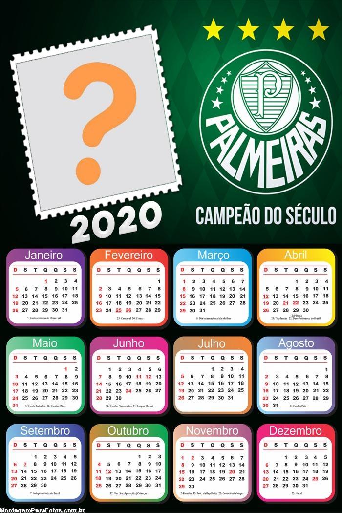 Calendário 2020 Palmeiras Campeão Moldura