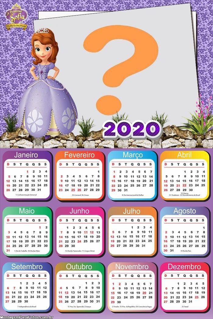 Calendário 2020 Princesa Sofia Foto Moldura