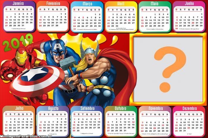 Calendário 2019 Marvel Personagens