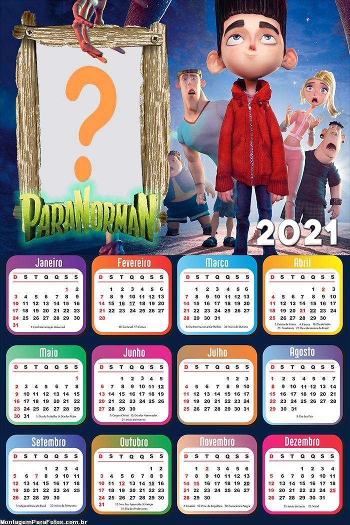 Calendário 2021 ParaNorman FotoMontagem