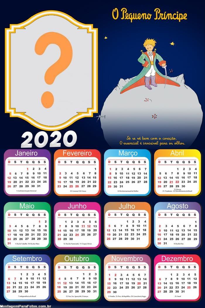 Calendário 2020 O Pequeno Príncipe Só se vê Bem com o Coração