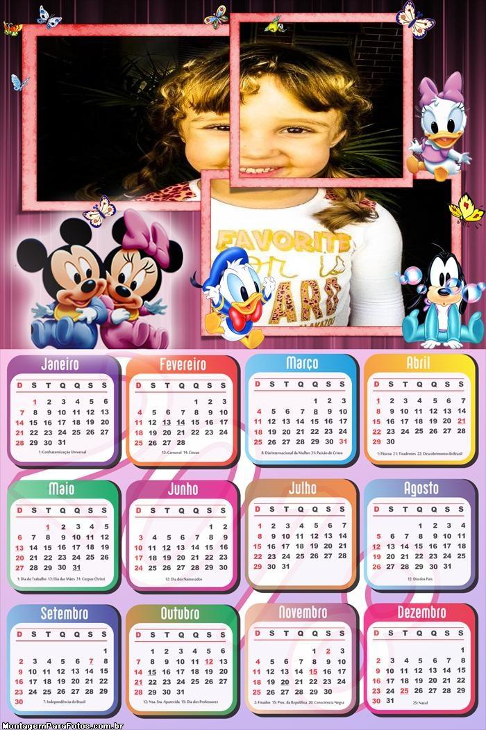Calendário 2018 Meninas Baby Disney