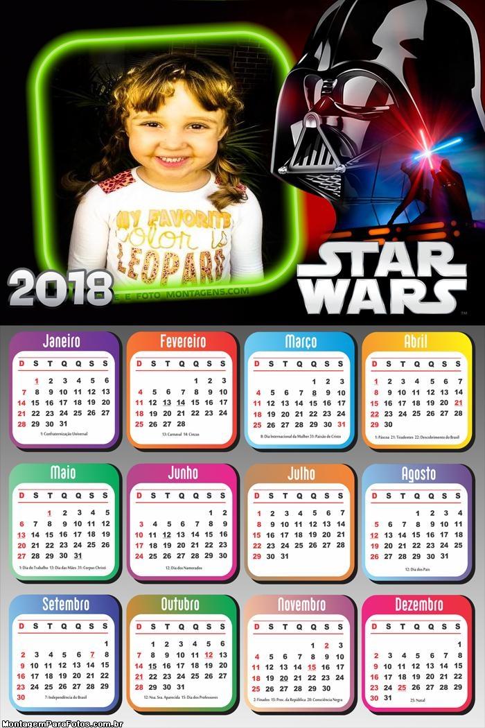 Calendário 2018 Starwars