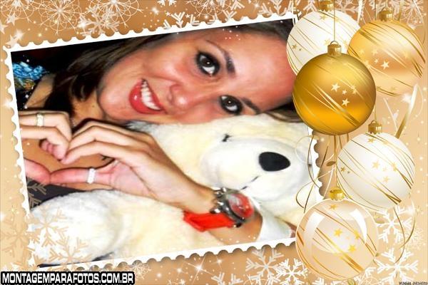 Moldura Bolas Douradas Natal