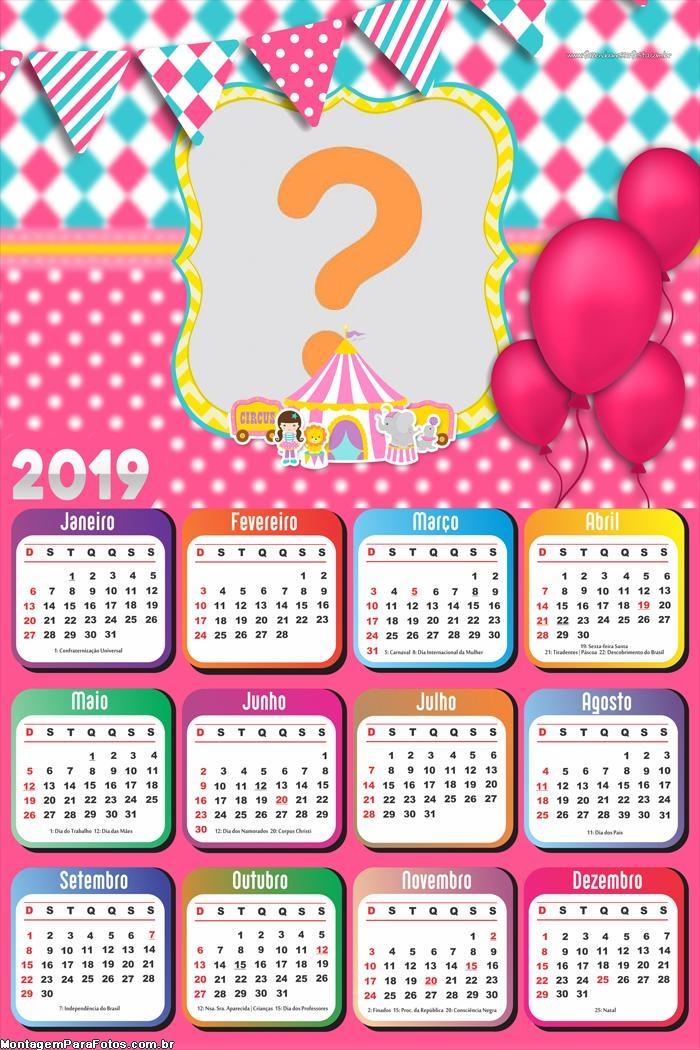 Calendário 2019 Circo Rosa