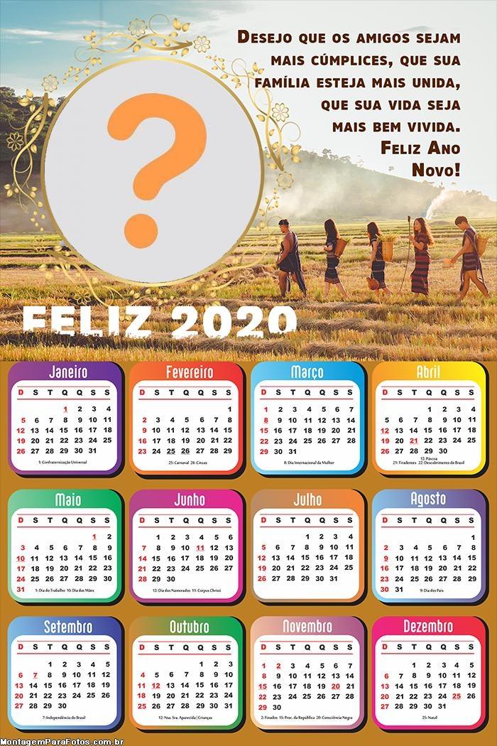 Calendário 2020 Família Unida Ano Novo