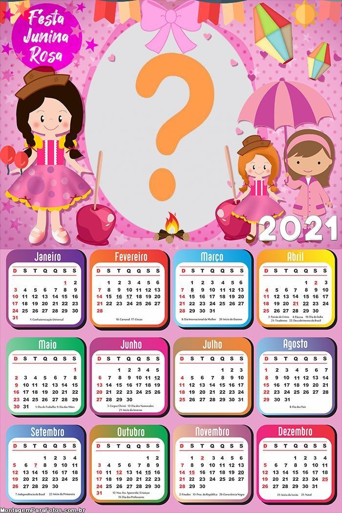 Calendário 2021 Festa Junina Rosa para Garotas